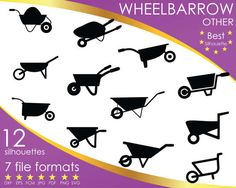 Hey, I found this really awesome Etsy listing at https://www.etsy.com/listing/503793674/12-silhouettes-wheelbarrow-barrow