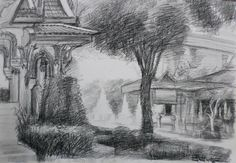 EE pencil on paper.Size: x Landscape Sketch, Paper Size, Thailand, Pencil, Sketches, Snow, Painting, Outdoor, Art