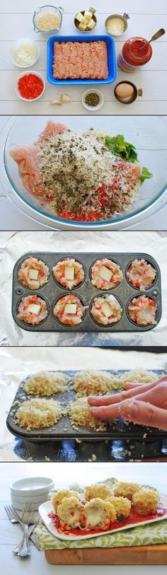 Mini Chicken Parmesan Meatballs.  A little dry and too much cheese (it overflowed)- use small cubes.