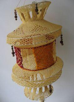 1 handgeknüpfter Lampenschirm aus Indien Hippie Goa Deko Dekoration Ethno Lampe