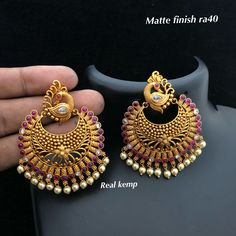 Temple jewellery Available at Ankh Jewels For booking WhatsApp on Gold Jhumka Earrings, Gold Earrings Designs, Gold Jewellery Design, Antique Earrings, Gold Jewelry, Indian Jewelry Sets, Temple Jewellery, Jewelry Patterns, Bridal Jewelry