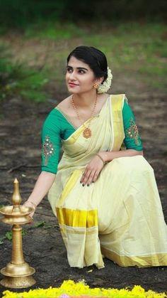 Onam Saree, Beautiful Saree, Kerala, Indian Beauty, Culture, Traditional, Stars, Blouse, Girls