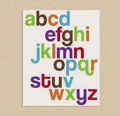 Printable Wall Art 8x10 or 11x17 Funky Alphabet by seedtosprout