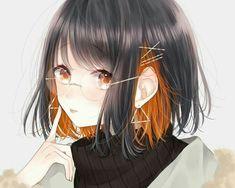 Black and orange. Anime Angel, Anime Oc, Fanarts Anime, Female Anime, Anime Characters, Manga Anime, Anime Girl Short Hair, Anime Girl Cute, Beautiful Anime Girl