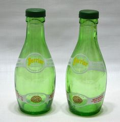 Vintage Perrier Mineral Water Bottle Salt and Pepper Shakers  French  Advertisement