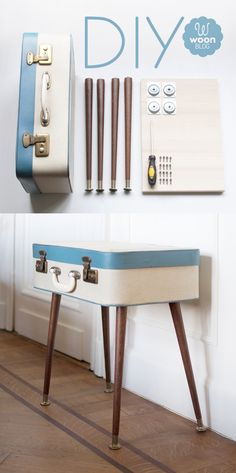 DIY vintage suitcase sidetable, interesting, wrong era for the house, but could look for old suitcases that would go w/ art deco or art nouveau to fit the house period.