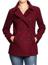 Women's Classic Wool-Blend Peacoats Wine Country Old Navy Old Navy Pea Coat, Black Pea Coats, Black Wool Coat, Pea Coats Women, Cute Coats, Women's Coats, Outfit Invierno, Jackets For Women, Clothes For Women