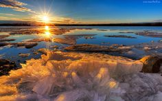 Zima, Promienie, Słońca, Jezioro, Lód