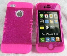 Glitter Pink with Hot Pink iPhone 4 4S Case ishield Hybrid Heavy Duty Snap On by CELL ARMOR, http://www.amazon.com/dp/B008PB72OI/ref=cm_sw_r_pi_dp_HrBZqb11NHR70
