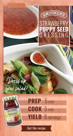 This Strawberry Poppy Seed Dressing is an easy way to make your Easter meal more special. Just be sure to use Smucker's® Natural Strawberry Fruit Spread — the one with real strawberries as the ingredient. Tap the pin to get the recipe. Salad Dressing Recipes, Salad Dressings, Strawberry Fruit, Strawberries, Vegan Recipes, Cooking Recipes, Good Food, Yummy Food, Pasta