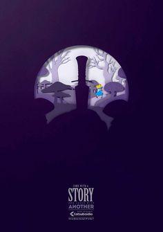 Campanha da Lowe colombiana para incentivar a troca de livros.  Dentro de cada ilustração estão representadas duas histórias muito conhecida...