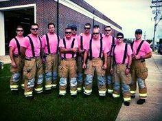 New Jersey firefighters show their support for Breast Cancer Awareness Month.