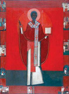 Jerzy Nowosielski (1923-2011), Św. Mikołaj / St. Nicolas, oil on wood