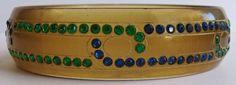 VINTAGE ART DECO BLUE & GREEN RHINESTONE TRANSLUCENT CELLULOID BANGLE BRACELET