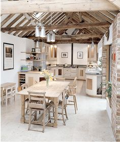 love the vaulted ceiling but probably not practical/affordable to put in a new home -- would have to do paneled wood boards or something not old beams