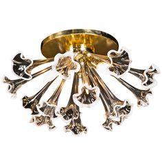 1stdibs.com | Brass & glass Murano Flushmount Light Fixture