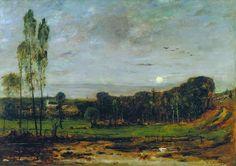 Mihály Munkácsy (1844-1900), Lever de Lune - 1881 Painters, Europe, Artists, Landscape, Artist, Scenery, Landscape Paintings, Corner Landscaping