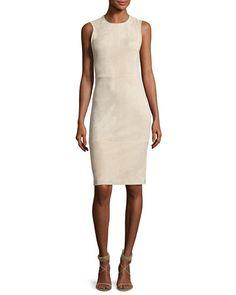 TV0NK Theory Eano L Stretch-Suede Sheath Dress