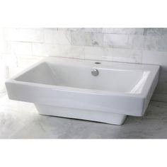 Kingston Brass Plaza China Vessel Bathroom Sink with Overflow Hole and Faucet Hole