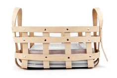 Shaker basket reinterpreted with natural belt leather and copper plated hardware by AMT. Large strap leather basket.