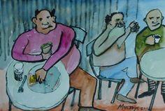 Gordo comiendo, y ellos comentando. Exposición Museo Arte Moderno de Mazatlán, Sinaloa, México, Noviembre 2011. Juan Montoya López