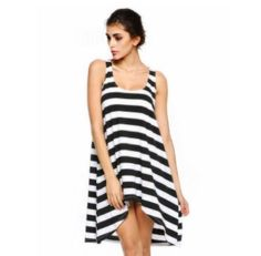 Black And White Stripe Asymmetric Sleeveless Dress | USTrendy www.ustrendy.com #ustrendy