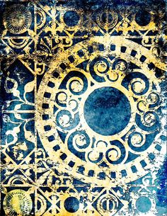Medallion Gelli Arts monoprint blue - I have tried to figure out how this was done; today I saw this again and was able to go to her page. The gold is the real gelli  print; she then scanned and photoshopped it to look like this.  Love it.