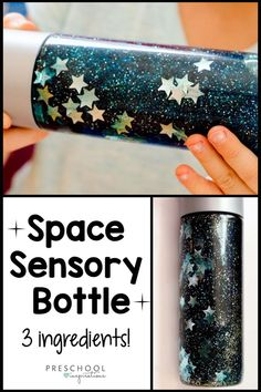 Make a mesmerizing sensory bottle with only 3 ingredients! It's perfect for a preschool space theme, galaxy study, or as a calming tool. # space activities for kids 3 Ingredient Galaxy Calm Down Bottle - Preschool Inspirations