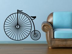 Penny Farthing Vinyl Wall Decal by WallJems on Etsy, $23.99