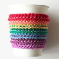 Make this delightful rainbow cup cozy with this crochet pattern. Great last-minute Christmas present.