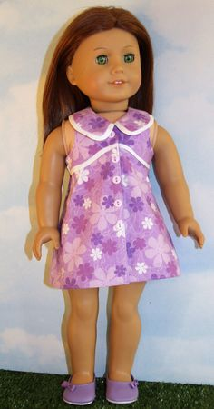 0dbb5202718f 18 Inch Doll like American Girl Sleeveless Purple by SewLikeBetty American  Girl Dress