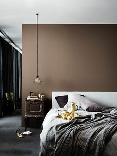 Explore over colours and schemes using the Dulux Colour Wall. Test your colour at home by ordering samples online from the Dulux Shop. Bedroom Colour Schemes Warm, Interior Color Schemes, Bedroom Colors, Diy Bedroom Decor, Bedroom Ideas, Dulux Feature Wall, Feature Wall Bedroom, Brown Paint Colors, Brown Interior