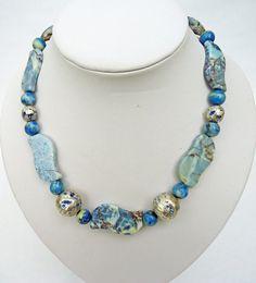 Blue Jasper Necklace Chunky Jasper Necklace by evecollection, £20.00