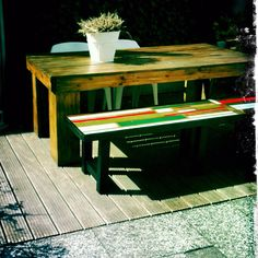 Table and striped bench for the garden Home-made