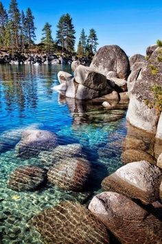 "Crystal Clear Water at Lake Tahoe  Located on the California / Nevada border, Lake Tahoe is a pristine mountain lake surrounded by some of the best ski resorts in the world.  While it would be easy to assume this is just a ""Winter Paradise"" the lake's spectacular crystal clear water beckons visitors in the summer as well for kyaking, fishing, and other water sports."
