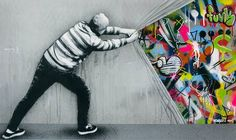 Derrière le gris triste du mur, la couleur ! / Street art. / By Martin Whatson.