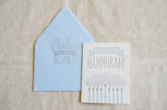 Happy Hannukah Letterpress Greeting Card with Menora