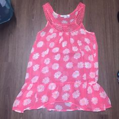 Forever 21 dress Cute spring/summer white and yellow flower pink dress. Size small. Is see through so something has to be worn under it, but was very cute as a swimsuit cover up also. Forever 21 Dresses