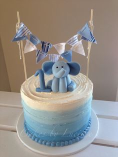 Blue ombre 1st bday cake