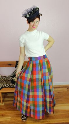 Colorful Vintage 1950s/1960s Rainbow Plaid Wool Maxi Skirt Size MEDIUM/LARGE Fifties Fashion, Vintage Clothing Stores, Vintage Fall, Fall Accessories, Fitted Skirt, Vintage Colors, Etsy Vintage, Etsy Store, Fall Fashion