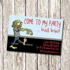 Kids Zombie Birthday Party Invitation Parties Halloween Boy