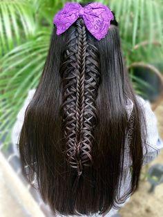 By @PrettyHStyle3029 #braid #hairstyle #longhair #hair #peinado #halfdo #bow #trenza