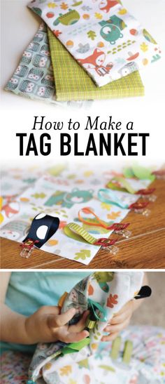 Learn how to make a tag blanket in less than 15 minutes. It's a perfect DIY baby shower gift or gift for a new mom!
