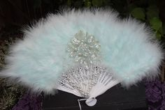 Handheld Folding Fan, Fancy Feather Fan with Pearls and Sequins