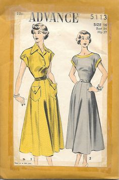 Advance 5113 - 1940s  Dress with Pocket Sewing Pattern, offered on Etsy by GrandmaMadeWithLove