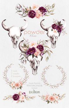 How exactly to Get the Bride Bouquet and Groom Boutonniere Harmony? When searching for bridal Bull Skull Tattoos, Bull Skulls, Deer Skulls, Cow Skull, Animal Skulls, Bird Skull, Tattoo Crane, Artificial Bridal Bouquets, Artificial Flowers