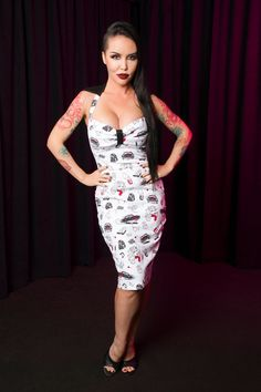 Traci Lords Wanda Dress in Juvenile Delinquent Print | Retro Wiggle Dress | Pinup Girl Clothing