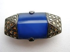 Art Deco Sterling Silver Marcasite Carved Blue Czech Glass Dress Clip Antique | eBay