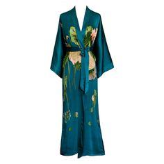 Silk Kimono Long Robe - Handpainted Crane (teal)