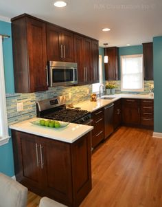 Electric Blue Kitchen With Brown Cabinets